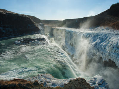 Gullfoss waterfall located in the canyon of Hvítá river
