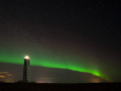 Lighthouse with Aurora Borealis