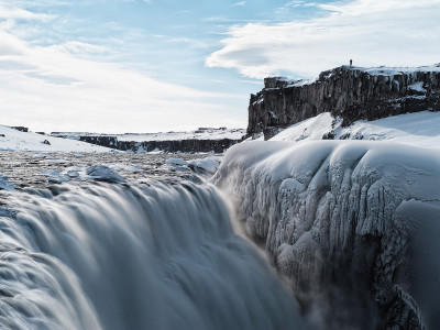 Dettifoss observed in winter