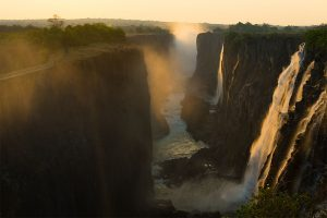 Victoria fall at sunset, Zambia